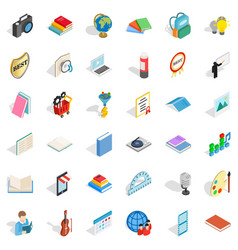 Watercolor icons set isometric style vector