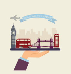 Welcome to london attractions london on a tray vector