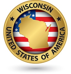 Wisconsin state gold label with state map vector image