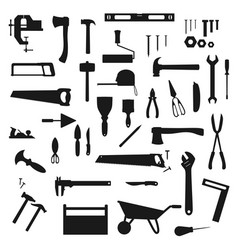 Work tools construction instruments silhouettes vector