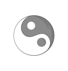 Yin Yang sign icon in cartoon style vector image