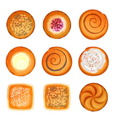 bread rolls round loaves set with sesame sugar vector image vector image