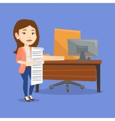 Business woman holding long bill vector image vector image
