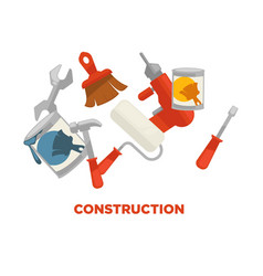 construction tools colorful set isolated on vector image