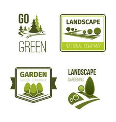 landscape design gardening service emblem set vector image vector image