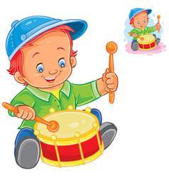 little boy beat the drum vector image vector image