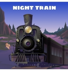 Old locomotive with American flag vector image