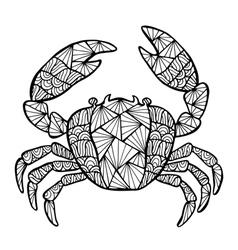 Stylized crab zentangle vector image vector image