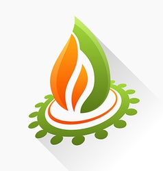symbol fire with gear Orange and green flame glass vector image vector image