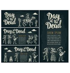 Horizontal poster for dia de los muertos day of vector