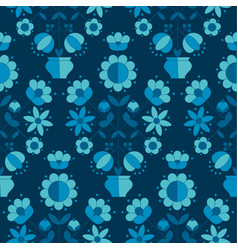 peasant style simple floral pattern on blue color vector image vector image