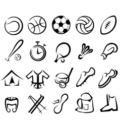 sports equipment set isolated icons vector image vector image