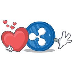 With heart ripple coin character cartoon vector