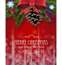 Christmas tree branches with bow and ribbons vector image