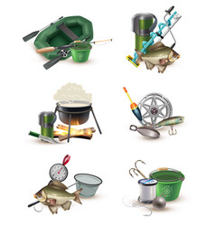 Fishing gear accessories 6 icons set vector