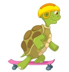 Funny Turtle Skateboarding vector image
