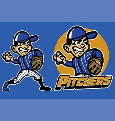 kid playing baseball as a pitcher vector image