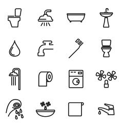 line bathroom icon set vector image