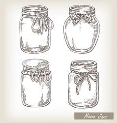 mason jars set vector image