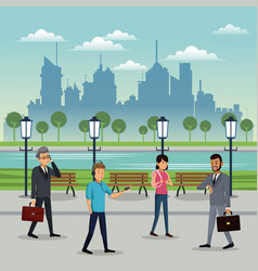 people walking park urban background vector image