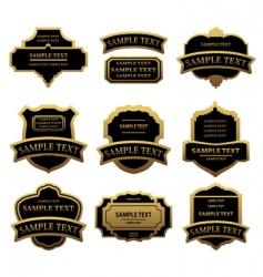 set of golden labels and frames vector image