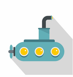 submarine icon flat style vector image vector image