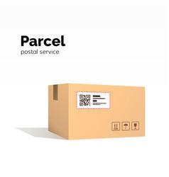 transportation parcel carton box container qr vector image