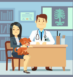 veterinary office - woman with dog and vector image vector image