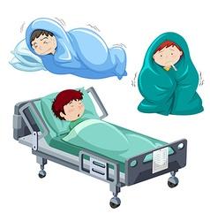 Kids being sick in bed vector image vector image