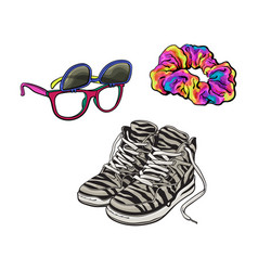 90s fashion - sneakers sunglasses with removable vector image