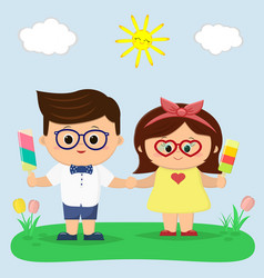 a boy and a girl with glasses are holding ice vector image