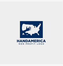 American charity non profit care hand logo vector