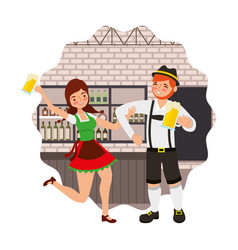 Bavarian man and woman drinking in the bar vector