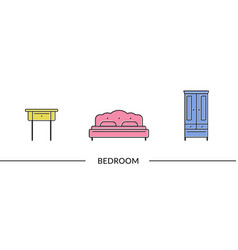 Bedroom furniture line icons vector