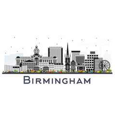 Birmingham uk city skyline with color buildings vector