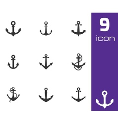 black anchor icons set vector image