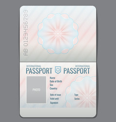 Blank open passport template isolated vector