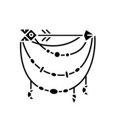 Boho accessory with arrow black glyph icon vector