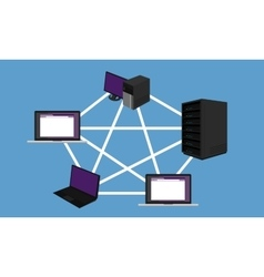 bus network topology LAN design networking vector image