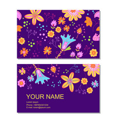 Business card template in cartoon style vector