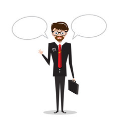 business man in suit with empty speech bubbles vector image