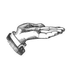 Businessman left hand make gesture vintage vector