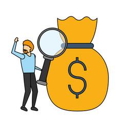businessman magnifyig glass money bag vector image