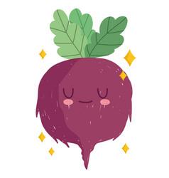 cartoon beetroot vegetable cheerful food mascot vector image