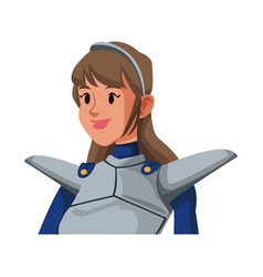 Cartoon knight woman in costume with armor shield vector