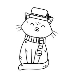 Cat with hat and scarf celebration merry christmas vector
