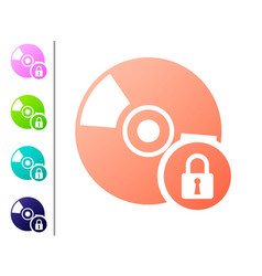 Coral cd or dvd disk with closed padlock icon vector
