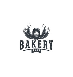 Cupcake and wheat vintage bakery shop logo design vector
