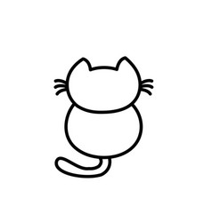 Cute lonely kitten facing back vector