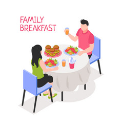 daily family breakfast isometric vector image